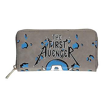 Capitan America Purse First Avenger nuovo ufficiale Marvel Grey zip Around