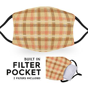 Beige Tartan - Reusable Adult Cloth Face Masks - 2 Filters Included