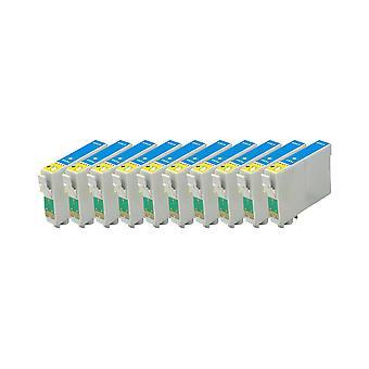החלפת רודינזוגות 10x ליחידת הדיו של Epson TeddyBear צבע ציאן התואם לחרט D68, D68 מהדורת צילום, D88, D88 מהדורת צילום, D88 Plus, DX3800, DX3850, DX3850 פלוס, DX4200, DX4250, DX4800, DX4850,