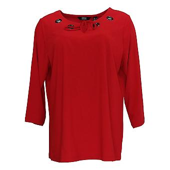 Dennis by Dennis Basso Women's Top Grommet Details 3/4 Sleeve Red A308100