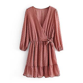 Women Three Quarter Sleeve Ruffles Lace Chiffon Boho Beach Party Dress