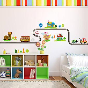 Diy Cartoon Biler Highway Track Wall klistermærker til kids værelser - Børn & apos;s Play Room Soveværelse Decor Wall Art Decals