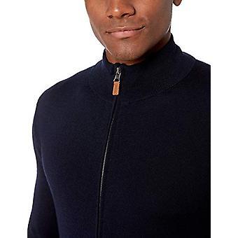 Marca - Abotonado abajo hombres's italiano Merino lana Full-Zip suéter, Midn...