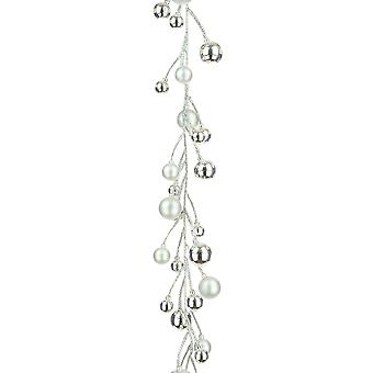 1.6m Silver Glittered Bauble Garland for Christmas Tree or Home Decoration