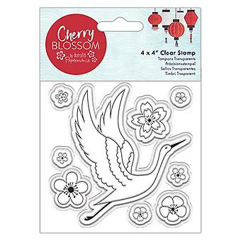 Papermania Cherry Blossom 4x4 Inch Clear Stamp Cranes