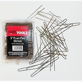 "Hair tools 3"" plain pins brown (box of 500)"