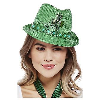 Felnőttek Paddy's Day Light Up Sequin Trilby Hat