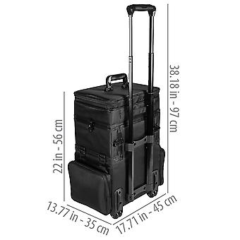 SHANY Large Travel Makeup Trolley Storage Case - Rolling Cosmetics Case with Detachable Sections and Multiple Compartments - BLACK