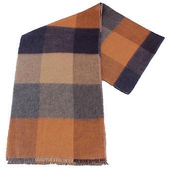 Fraas Block Reversible Scarf - Grey/Copper/Brown
