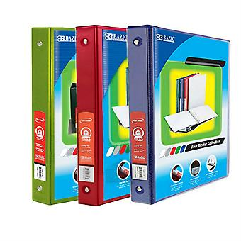 Combo58, BAZIC 1 Inch 3-Ring View Binder with 2-Pockets (Case pack of 36 consist 12-Lime Green, 12- Red & 12-Blue)