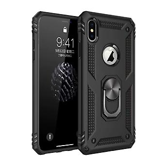 R-JUST iPhone 8 Plus Case - Shockproof Case Cover Cas TPU Black + Kickstand