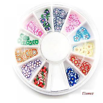 Blandade stilar 3d frukt små skivor Klistermärke, Polymer Clay Designs Slice Nail Art