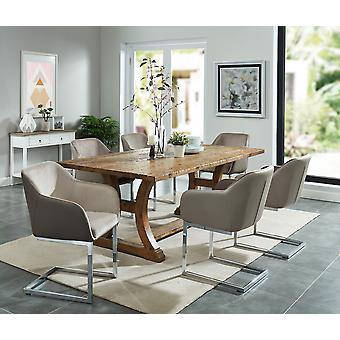 Alice/Henry 7Pc Dining Set - Vintage Pine Table/Taupe Chair