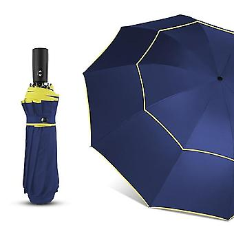 120cm Automatic Double Big Umbrella - Rain Women 3folding Wind Resistant