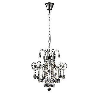 Inspired Diyas - Rosina - Pendente a soffitto 5 cromato lucido chiaro, cristallo
