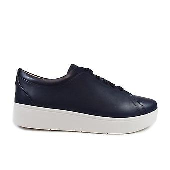 Fitflop Rally Navy Leather Womens Lace Up Sneaker Trainers