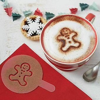 Christmas Hot Chocolate Stencils - Star / Snowflake / Tree / Gingerbread Man x 6