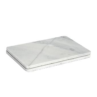 Rectangular Shaped Marble Food Serving Plates / Platters - 300x200mm - Grey - Pack of 2