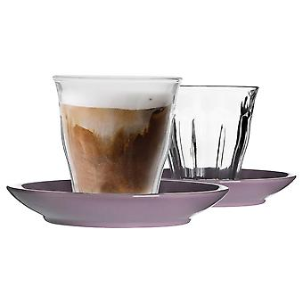 12 Piece Picardie Glass Coffee Cup and Ceramic Saucer Set - Modern Style Tumbler Mug for Latte Cappuccino - Purple - 220ml