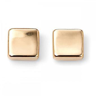 عناصر الذهب 9CT الذهب الأصفر مكعب مسمار أقراط GE2071