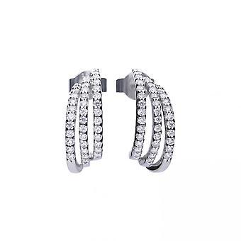 Diamonfire Silver White Zirconia Half Creole Earrings E5632