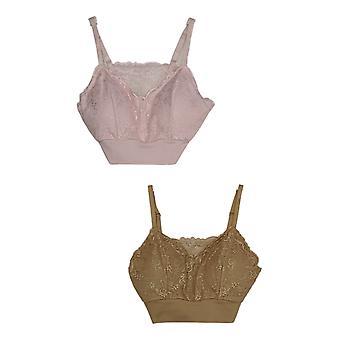 Rhonda Shear 2-pack Lace Lesiure Bra w/ Pads amovibles 729-952