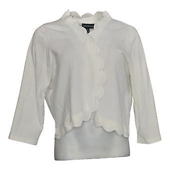 Nina Leonard Women's Plus Sweater Double Scallop Knit Bolero White 685-873