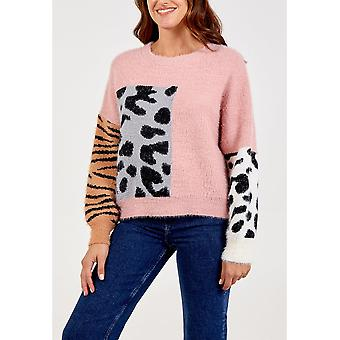 Evie Animal Print Jumper | Rose