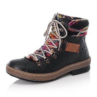 Stivali alla caviglia Rieker 6743-00 Felicitas Fashion con collare a maglia in nero