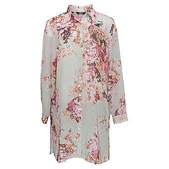 Dennis Basso Women's Sweater Printed Button-Front Duster Gray A351945