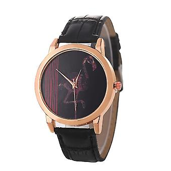 Red-crowned Crane Pattern Colorful Leather Strap Fashion Men Quartz Watch