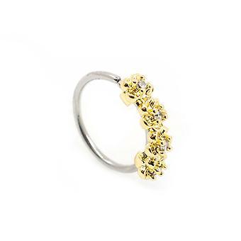 Nariz doblable, anillos de aro de cartílago con cuatro flores pavimentadas de cz 316l s. acero 20g