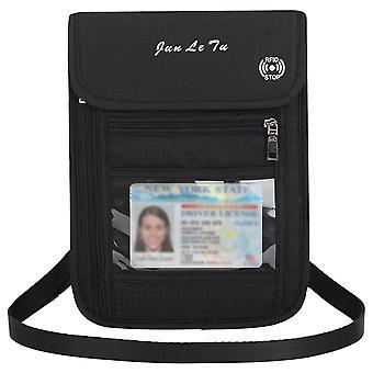 Reise hals veske, lommebok med Rfid blokkering - passholder, dokument