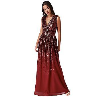 Sequin chiffon wrap maxi dress