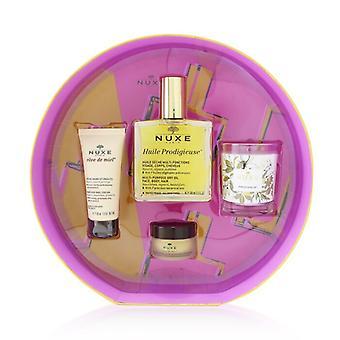 Nuxe Prodigieusement Culte Set: Huile Prodigieuse Dry Oil 100ml + Reve De Miel Hand Cream 30ml + Reve De Miel Honey Lip Balm 15g + Prodigieux Candle 70g 4pcs