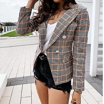 Plaid Γυναίκες's κοστούμι παλτό λεπτό κουμπί μακρύ μανίκι παλτό