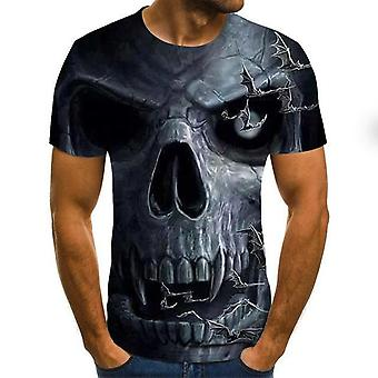 New Summer Skull Print Lyhythihaiset 3D Print Casual Breathable T -paidat