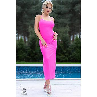 Μακρύ φόρεμα CR4379 ζεστό ροζ μέγεθος: S