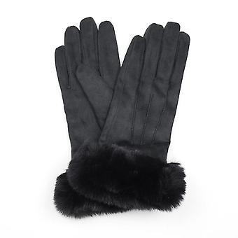 POM Faux Suede Gloves | Black