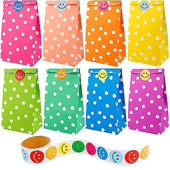 Augshy 40 Stück bevorzugen Papiertaschen Dot Muster mit einer Rolle von 100 Lächeln Gesicht Aufkleber für Kinder chirstmas