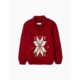 Zippy Jumper With Jacquard For Boys, Red