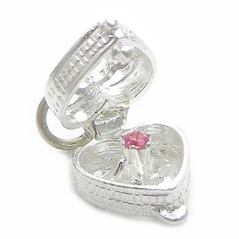 Hjertekasse med sten indeni (farve varierer) Sterling Silver Charm 0,925 X 1 - 4472