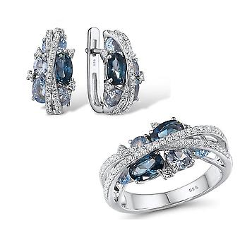 Silver Jewelry Set, Sparkling Blue Spinel Earrings Ring Sets