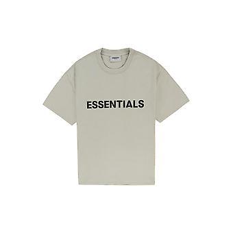 Fear Of God Essentials Boxy T-Shirt Applique Logo Olive - Clothing