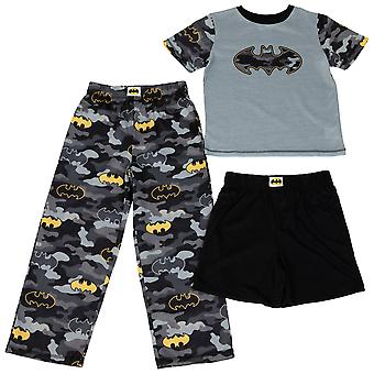 Batman naamiointi symbolit Boy's 3-osainen pyjamasetti