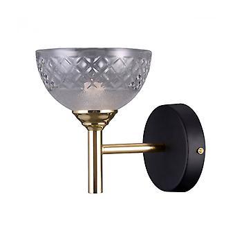 Lámpara De Pared Industrial Y Retro Tomasso Negro Mate, Dorado