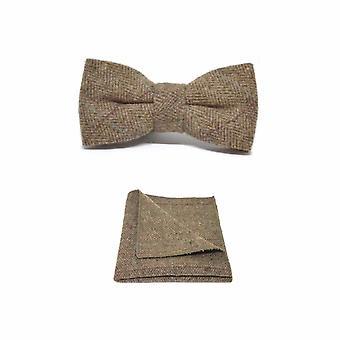 Papillon in tweed marrone a spina di pesce di lusso e Set quadrato tascabile