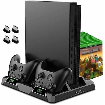 All-in-one stand for XBox One/S/X with fan + dual charging station