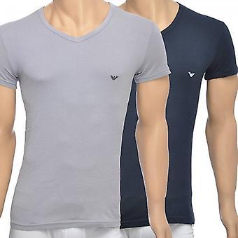 Emporio Armani 2-paquete de elástico de algodón con cuello en v camiseta, gris/azul marino, gran