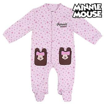 Baby's long-sleeved romper suit minnie mouse pink brown knees